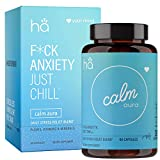 Calm Aura - Natural Stress & Anxiety Relief Pills for Adults - Mood Support Adaptogen Blend - Vegan Non-GMO w/Ashwagandha, L-Theanine, Rhodiola, Chamomile, Hawthorne, Zinc, Magnesium (60 ct)