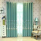 pureaqu European Style Room Darkening Blackout Curtains 96 Inches Long Thermal Insulated Grommet Drapes Embroidery Blue Flower Curtains for Living Room/Bedroom/Patio Doors 1 Panel W75 x H96 Inch