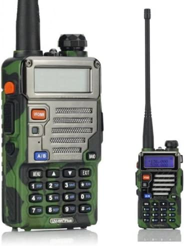 BaoFeng UV-5R Plus UV5R+ Walkie Talkie Two Way Radio(Bibanda, Doble Monitor, Doble Standby, 136-174/400-480 MHz 2M/70CM, Emisor y Receptor, FM Radio, Antena Extensible Hasta 18 cm), Diseño de Camuflaje (2*Radio + SainSonic