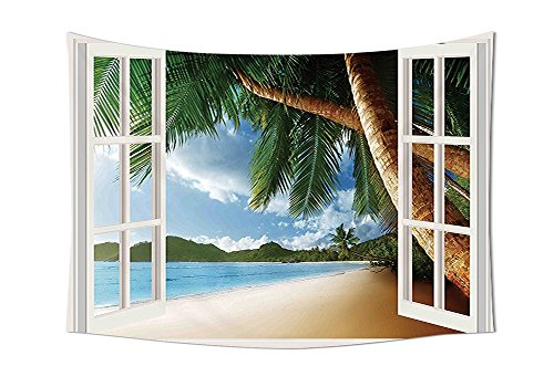 Beach Tapestry Decor Nautical Theme Window View of Palm Trees on Sand Beach Photo Landscape Image Wall Hanging for Bedroom Living Room Dorm Green Ivory (Halloween By The Name Iron Maiden)