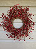 KMI New Homestead Rustic 12'' Country Primitive RED Pip Rice Mixed Berry WREATH