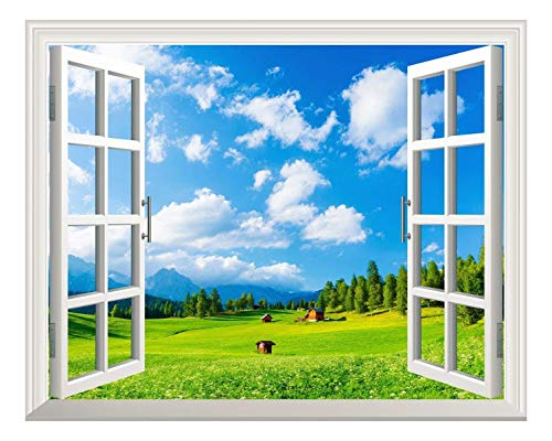 Removable Wall Sticker Wall Mural Blue Sky and Green Grass Out of The Open Window Creative Wall Decor