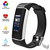 ALLOR Fitness Tracker Watch, Color Screen Fitness Technology With 24 Sport Modes, Heart Rate Monitor, Sleep Monitor, IP67 Waterproof GPS Function Pedometer For iPhone Android Phone, Black(With Charge)