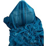 Novels-wear 100%mulberry Silk Scarf Wrap Luxury Brand Solid For Hair (petrol blue)
