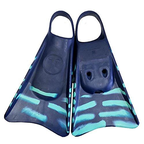 Tribe T2 Swimfins for Bodyboarding, Kids Snorkel fins, Swimming Flippers and bodysurfing - Medium Navy/Aqua (Best Swim Fins For Bodysurfing)