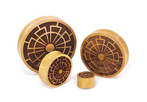 Elementals Organics Jackfruit Wood Plugs for Ear - Ear Gauge with Crop Circle Design, 50mm, 2 Inch, Price Per 1 Earring