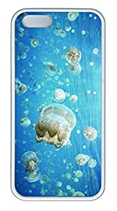 iPhone 5 Case, iPhone 5S Cases - Scratch-Resistant Rubber Cover Bumper for iPhone 5/5s Jellyfish Invasion Thin Fit White Soft Rubber Case Cover for iPhone 5/5S