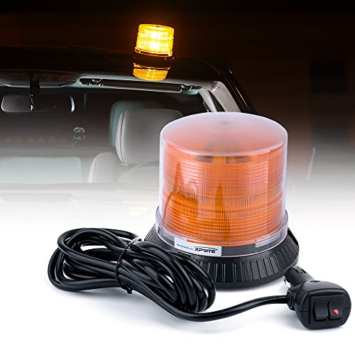 Xprite Amber/Yellow Rotating LED strobe beacon light with Magnetic Mount, Emergency Caution Warning revolving light,13 Modes 18W 12 LEDs for Trucks Snow Plow construction vehicle car ()