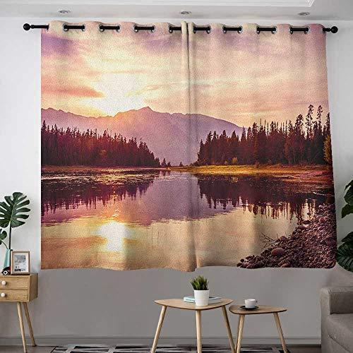 - Zodel Curtains for Bedroom Landscape Grand Teton Mountain Range at Sunset Jackson Lake Calm National Park USA Energy Efficient, Room Darkening W 63