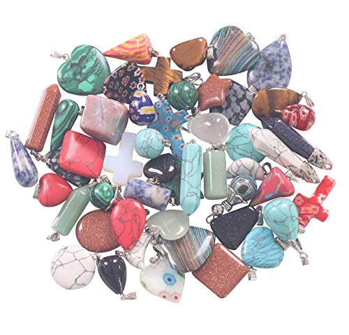 YAKA 26pcs Natural Stone Pendants Charms Jade Turquoise Agate Crystal Quartz Precious Stone Beads Bracelet Necklace Jewelry for DIY Necklace Jewelry Making Gift (26 Pcs Styles)