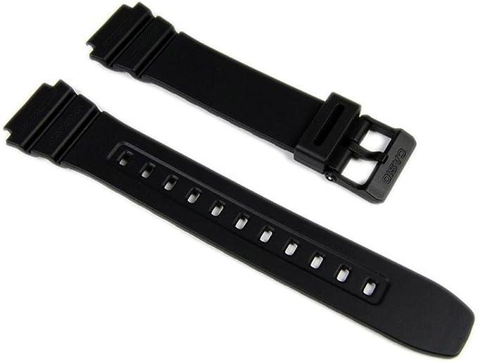 Bracelet de montre Casio W 216H, résine, noire