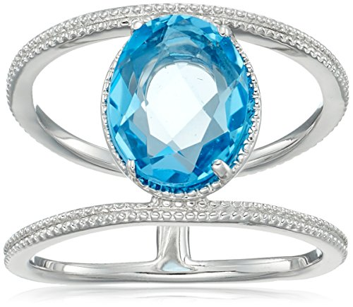 Sterling Silver Bead Design Oval Swiss-Blue-Topaz Ring, Size 7 -