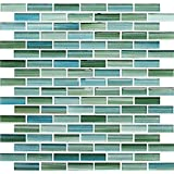 Sample - Rip Curl Green and Blue Hand Painted Glass Mosaic Subway Tiles