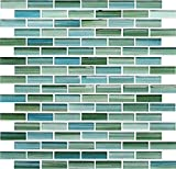 10 Sq Ft - Rip Curl Green and Blue Hand Painted Glass Mosaic Subway Tiles