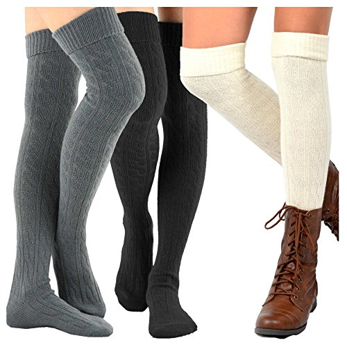 (TeeHee Women's Fashion Over the Knee High Socks - 3 Pair Combo (Cable Cuff Dark Combo))