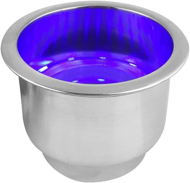 Porte-gobelets Suuonee support de cadre de support de tasse de leau bleue LED de bateau de v/éhicule dacier inoxydable 304