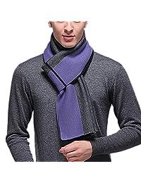 FEOYA Men's Vertical Stripe Long Scarf Winter Soft Warm Wool Shawl Wrap Purple