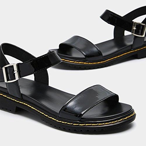 JIANXIN Negro Arma Yardas Hembra Velcro Y De Romano 38 Sandalias Negro De 35 Sandalias Estilo Color Tacón PU Espejo rrqU74wx