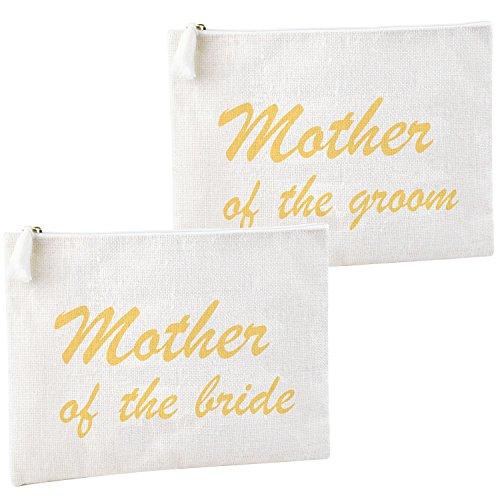 ElegantPark Mother of the Bride and Groom Clutch Bag Wedding Party Favors Gift Handbag Zip White with Gold Script 100% Jute 2 Pcs