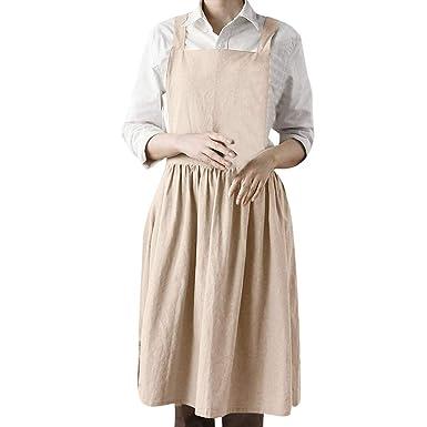 b4001c7796 Women Linen Sleeveless Home Cooking Florist Cute Bib Apron Pinafore Dress