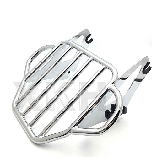XKH- Motorcycle Chrome King Detachables Two-Up Luggage Rack Compatible with 2009-2016 Touring Road King/Street Glide/Road Glide [B01KNXA8MS]