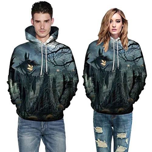 Halloween Couples Hoodies Men Women 3D Pumpkin Bat Scarecrow Scary Tops Shirts -