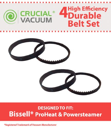 4 Replacement for Bissell ProHeat Steamer Belts, Compatible With Part # 0150621 & 2150628, By Think Crucial - Proheat Motor