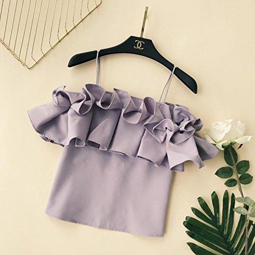 Xmy fentes permettant de petal lotus leaf edge épaules manches courtes T-shirt snow tempérament sauvage chemises sont pour les femmes