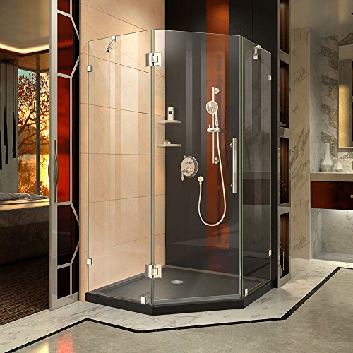 DreamLine Prism Lux 42 in. x 74 3/4 in. Fully Frameless Neo-Angle Shower Enclosure in Chrome with Black Base - Corner Entry Shower Door