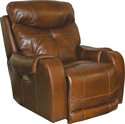 Catnapper Venice Power Lay Flat Leather Recliner - Chestnut (curbside delivery)