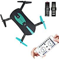 NiGHT LiONS TECH Upgraded version JY018 WIFI Quadcopter With Camera Foldable Arm Altitude Hold RC Mini Quadcopter Selfie Pocket Drone RTF with 2 pcs 3.7V 500mAh Batteries