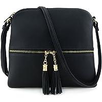 MKII Sadie Tassel Lightweight Faux leather Crossbody Bag (Black)