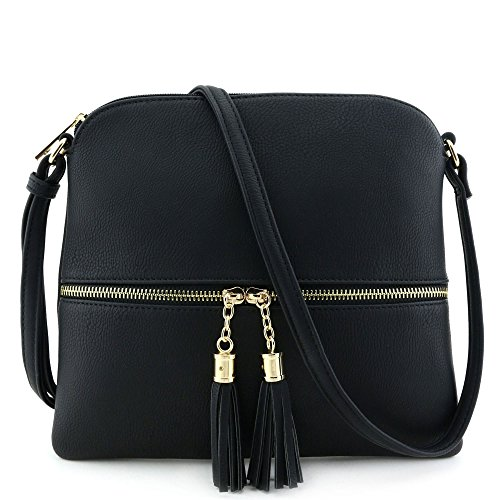 Purses For Women (Lightweight Medium Crossbody Bag with Tassel Black)
