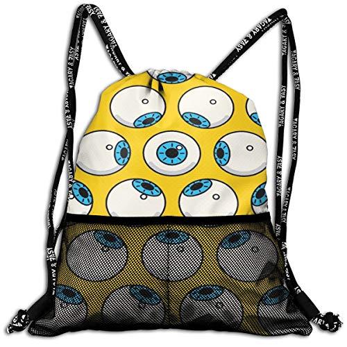 YRAI Eyes Drawstring Backpack Bundle Pocket Outdoor Daypack Gym -