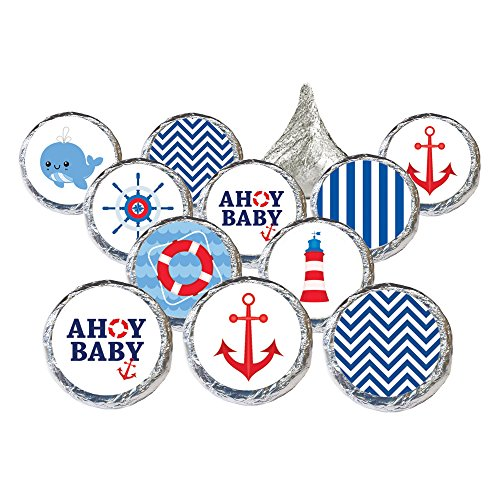 Nautical Ahoy Baby Shower Favor Stickers (Set of (Nautical Baby Shower Favors)