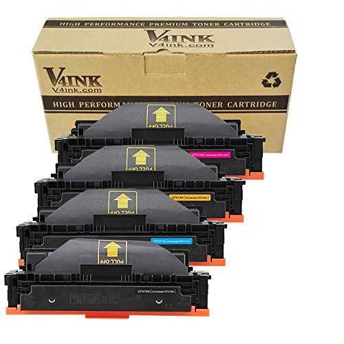 V4INK New Compatible HP 410A CF410A CF411A CF412A CF413A Toner Cartridge for HP Color LaserJet Pro M452dn M452nw M452dw M377dw,MFP M477fdn M477fdw M477fnw (4 Pack - Black/Cyan/Yellow/Magenta)