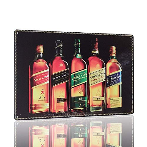 Dozili Johnnie Walker Plaque Tin Painting Metal Poster Plate Whiskey Tin Sign Vintage Style Wall Ornament Coffee & Bar Decor Home Gift Size 12