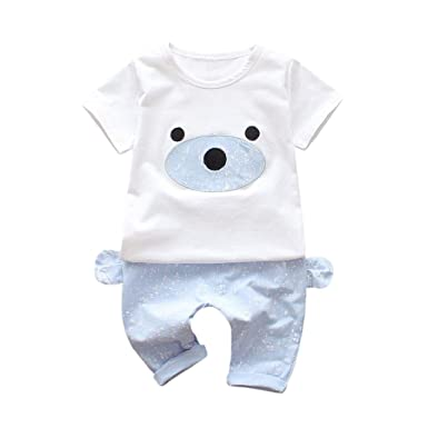 QUICKLYLY Ropa Bebe Niña Niño Camiseta Cortos Mangas de Caricatura y Pantalones Cortos Conjunto de Ropa