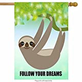 ShineSnow Green Cute Lovely Enthusiastic Sloth Tree House Flag 28'' x 40'' Double Sided, Autumn Winter Polyester Welcome Yard Garden Flag Banners for Patio Lawn Home Outdoor Decor