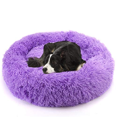 NOYAL Donut Dog Cat Bed, Soft Plush Pet Cushion, Anti-Slip Machine Washable Self-Warming Pet Bed – Improved Sleep for Cats Small Medium Dogs (Multiple Sizes)