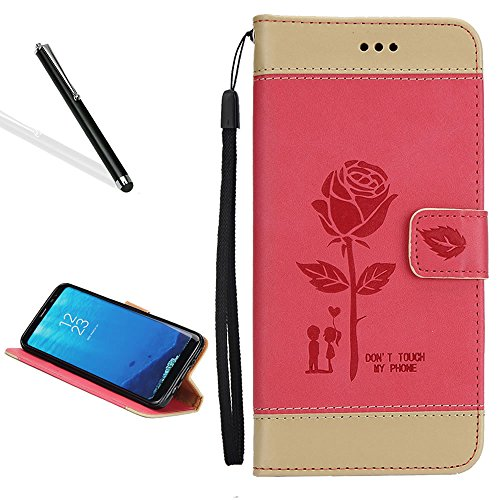 Case for Huawei P9,Bookstyle Flip Case for Huawei P9,Leecase Creative Stitching Color Rose Flower Lover Wrist Strap Magnetic Case Cover for Huawei P9-Red
