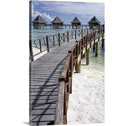 - GREATBIGCANVAS Gallery-Wrapped Canvas Entitled Walkway to Holiday Huts Over Lagoon, French Polynesia by Michelle Dry 32