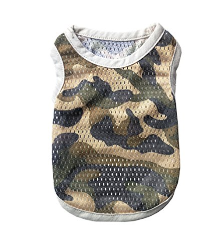 Dog Camouflage Shirt Tank - Petroom Small Dogs Summer Camouflage Mesh Vest,Dog Breathable Gilet,Dog Sleeveless T Shirt for Small to Medium Dogs Army Green Camo M