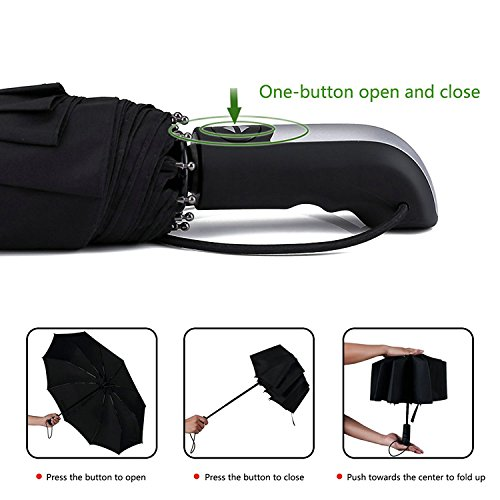 Yooso Travel Umbrella 10 Ribs Finest Windproof Umbrella with Teflon Coating by Yooso (Image #2)