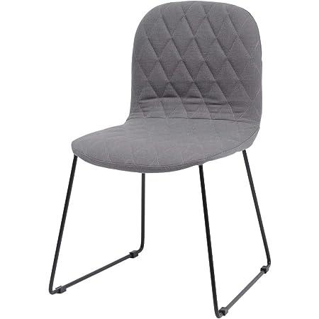 Libra Furniture Silla De Comedor Gris Acolchada con Patas De Metal Negro: Amazon.es: Hogar