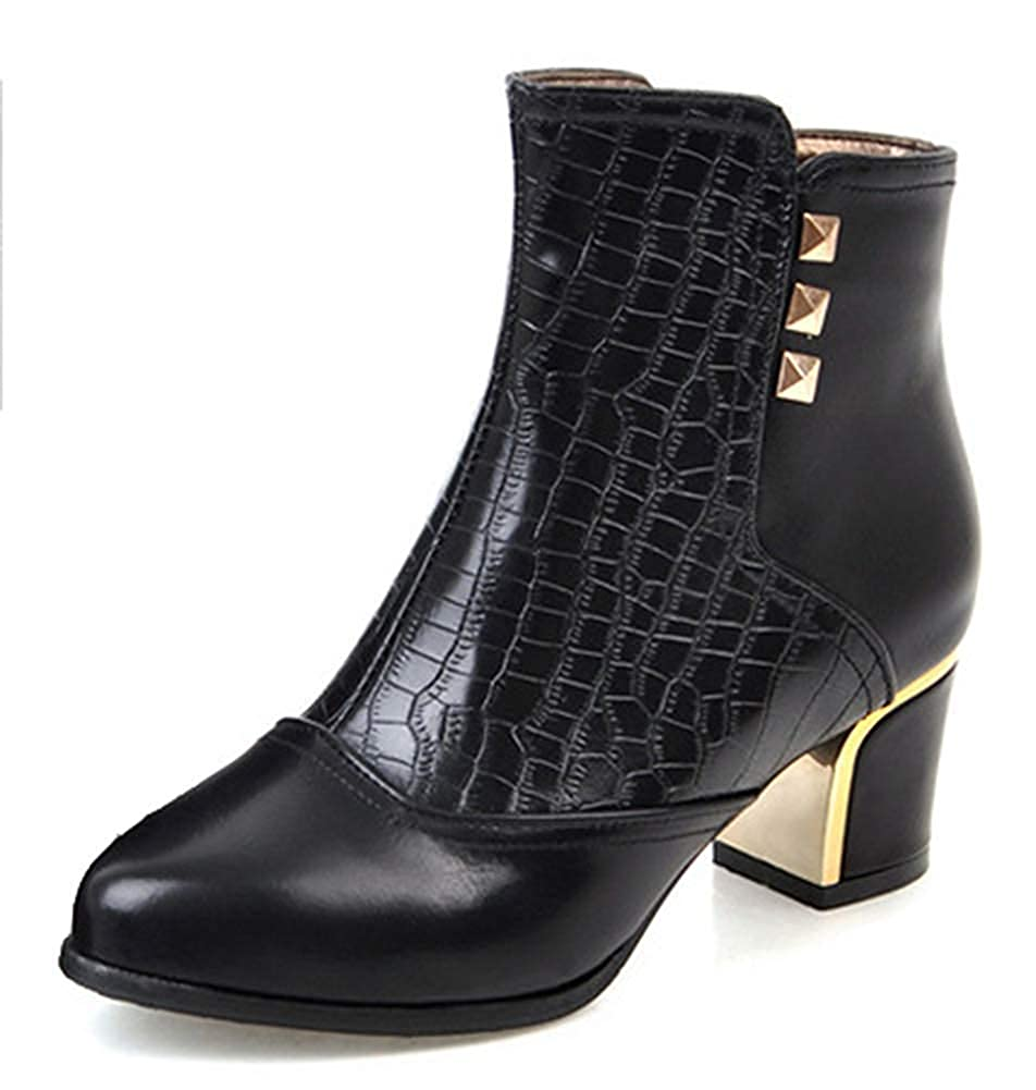 Unm Womens Studded Snake Print Mid Chunky Heel Booties Round Toe Dress Ankle Boots with Zipper