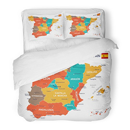 SanChic Duvet Cover Set Blue Government of Spain Map Brown Spanish City Madrid Aragon Balearic Decorative Bedding Set with 2 Pillow Shams Full/Queen Size by SanChic