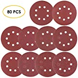 FIXKIT 80PCS Sanding Discs, 5 inch 8 Hole Dustless Hook and Loop Sandpaper, 8 Discs Each of 40/60/80/100/120/180/240/320/400/800 Grit Sander Paper Accessories for Random Orbital Sander