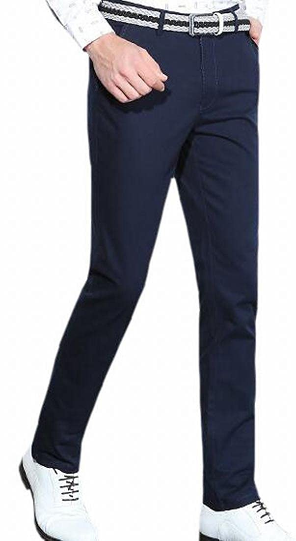 Tymhgt Men Stylish Fitted Straight Leg Flat-Front Trousers Dress Pants