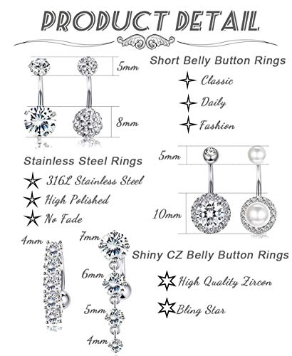 Buy sexy belly button rings set